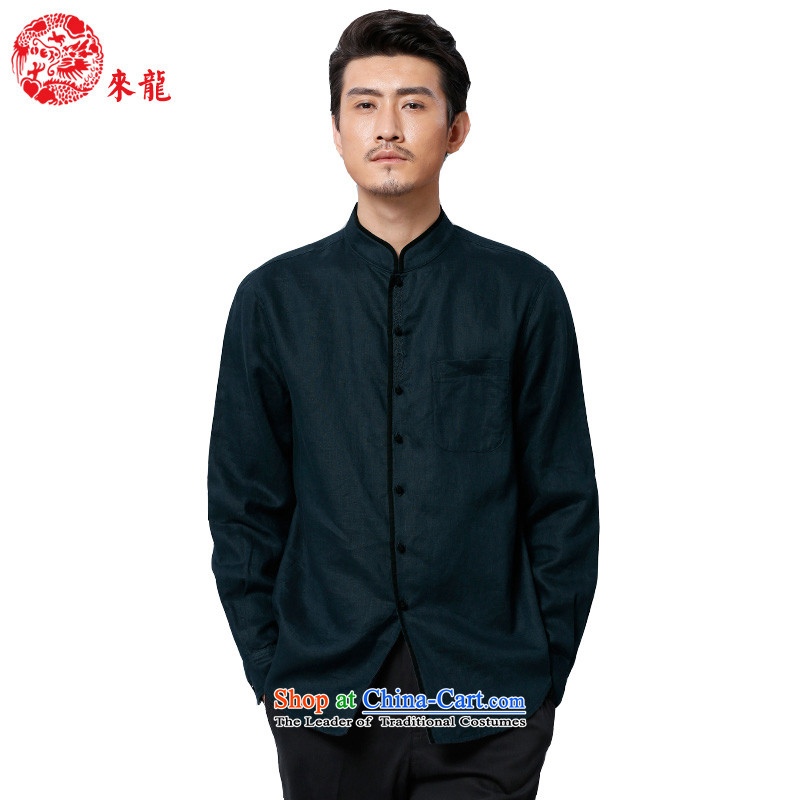 To replace 2015 Autumn Tang Lung New China wind men linen long-sleeved shirt with?dark green?48 mainstay of 15,582?52