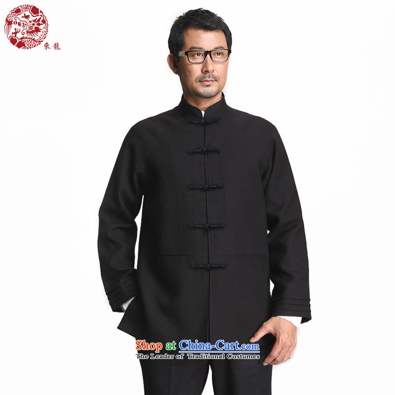 To Tang dynasty dragon of autumn and winter China Wind Jacket�14540 male�black�48 Deep Blue�52