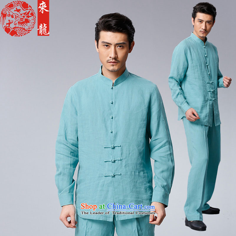 To Tang Dynasty Dragon 2015 autumn and winter New China wind men of ramie kit 15558 blue light blue 50