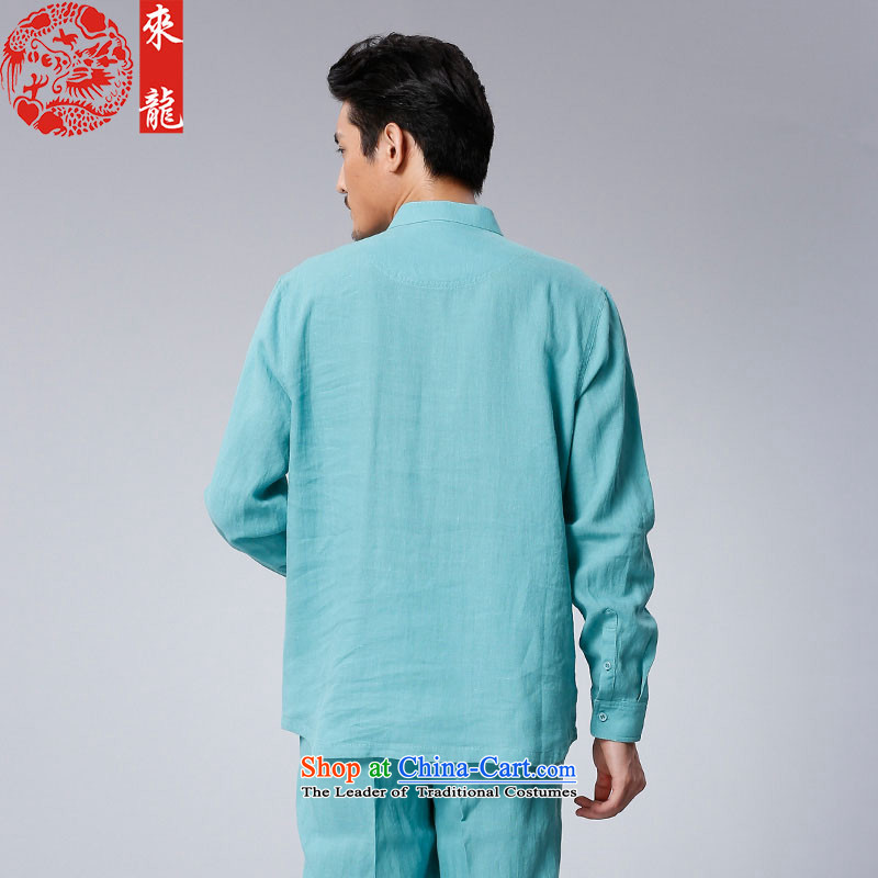 To Tang Dynasty Dragon 2015 autumn and winter New China wind men of ramie kit 15558 blue light blue 50 to lung , , , shopping on the Internet