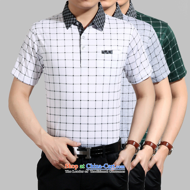 * summer involved and middle-aged men leisure short-sleeved T-shirt lapel of older men summer load father white�L