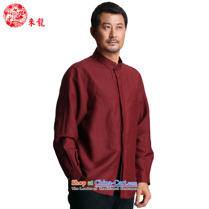 To replace the fall of Tang Lung China wind men bamboo Ma Tei & rayon long-sleeved shirt�certificates130-14328�dark red�48 Dark Red�48