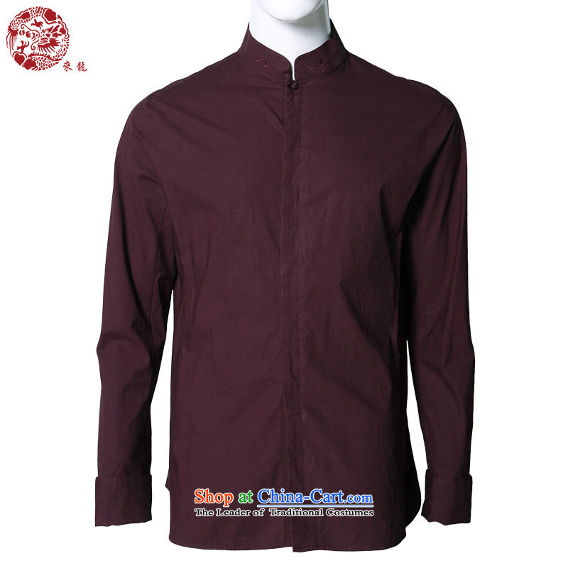 To replace the fall of Tang Lung China wind men pure cotton long-sleeved shirt�A13942�aubergine�48 Magenta�50