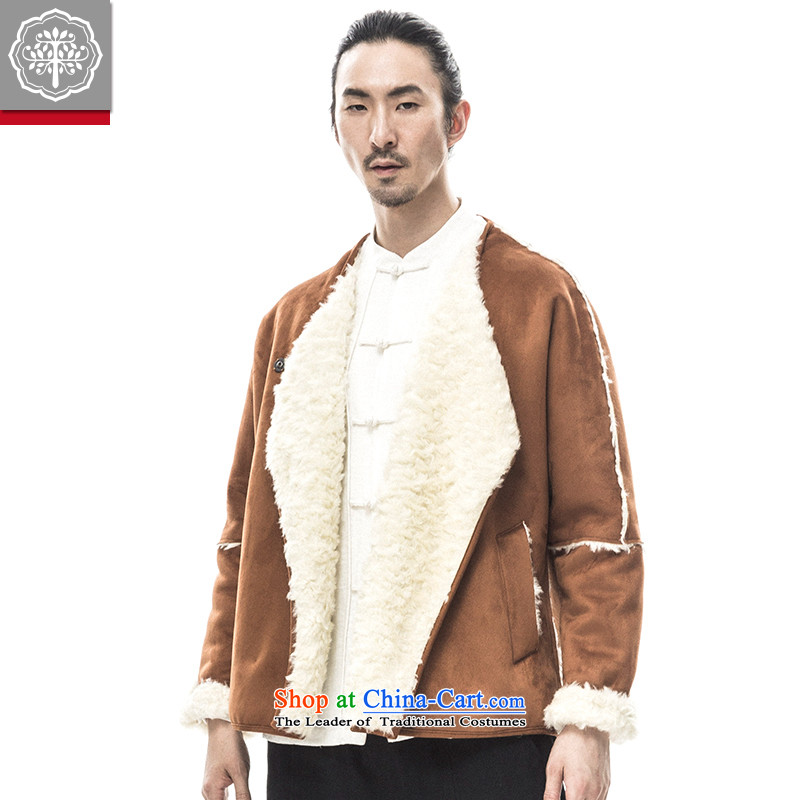 2015 Autumn tree to Tang dynasty and the new long-sleeved sweater thick Warm Han-male China improved wave Tang Huang聽180_XL Tea