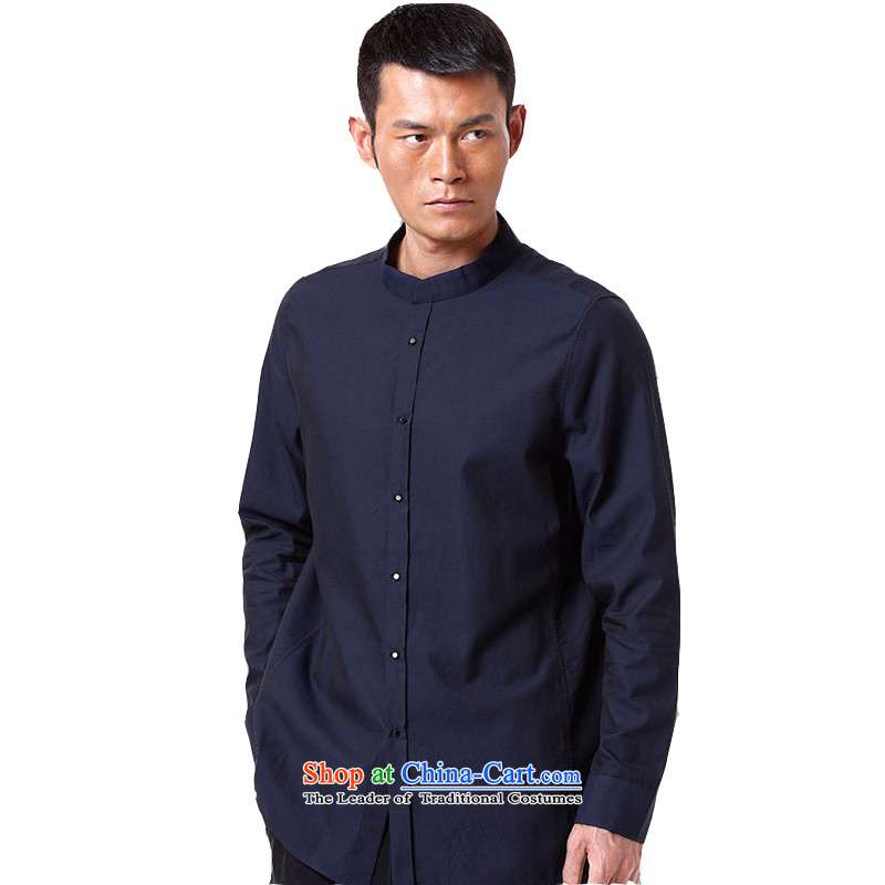 To replace 2015 Autumn Tang Lung New China wind men pure cotton long-sleeved shirt?15,154 was paid in?dark blue?48-yard white?52