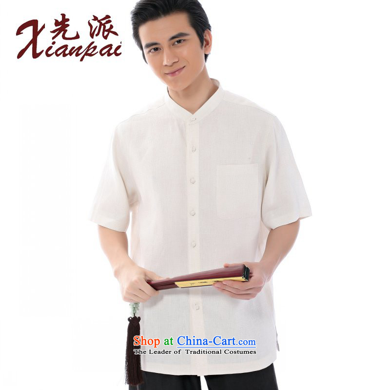 To send a new summer of Tang Dynasty Miguel linen short-sleeved T-shirt and stylish men in China Wind Jacket relaxd casual dress older stylish China wind up the CLIP Miguel youth linen short-sleeved T-shirt燲L