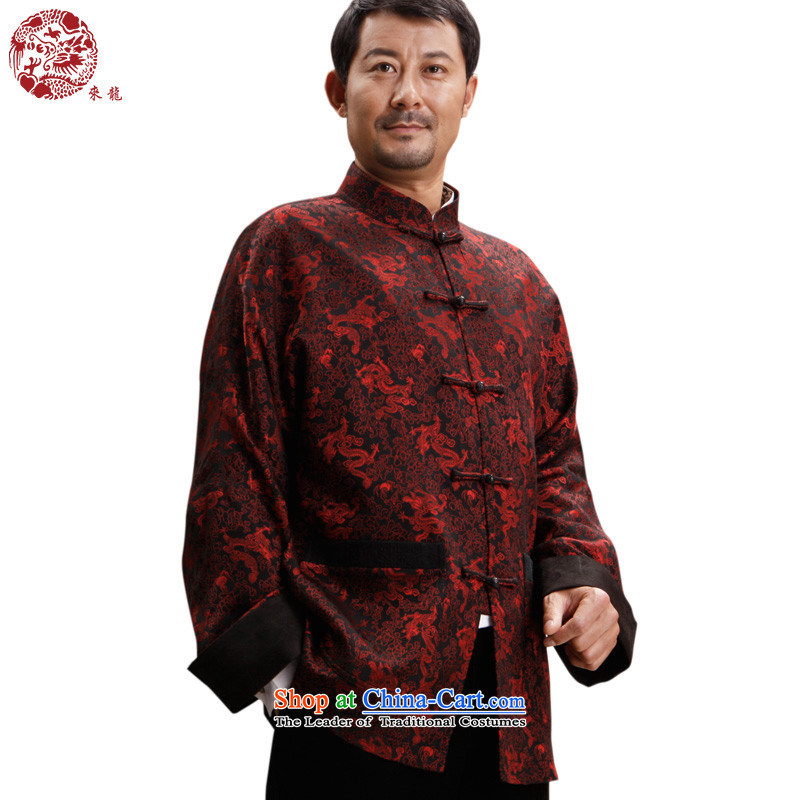 To Tang dynasty dragon autumn and winter, China wind men silk jacquard jacket聽bug 14374聽Red聽48 Red聽50