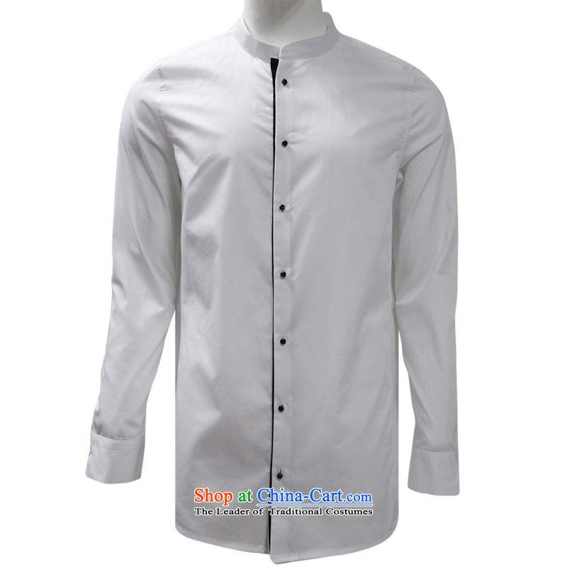 To Tang dynasty lung autumn New China wind men pure cotton long-sleeved shirt?15156?white?48 Black?46