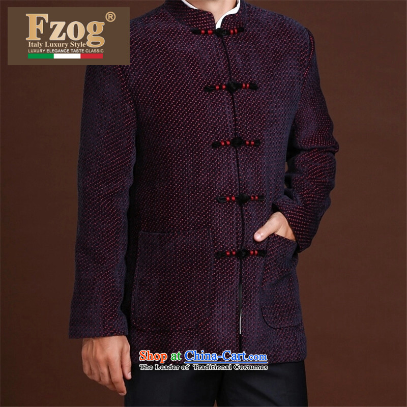 Fzog   ?printed cloth leisure minimalist men loose long-sleeved middle-aged men's dot Tang dynasty breathability red?XL