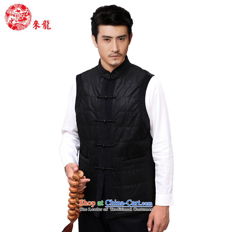 To Tang dynasty dragon autumn and winter, China wind men at shoulder vest�13889�Black�48 Black�52