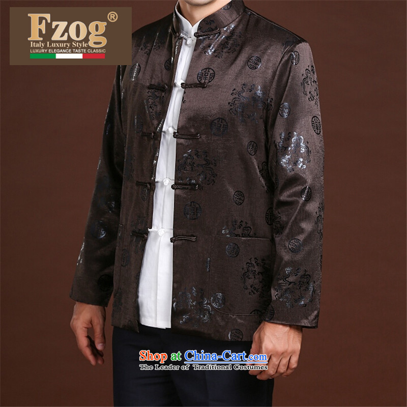 Fzog  �new men casual simplicity loose printed cloth animal patterns of older men's comfortable black�XXXL Tang Dynasty
