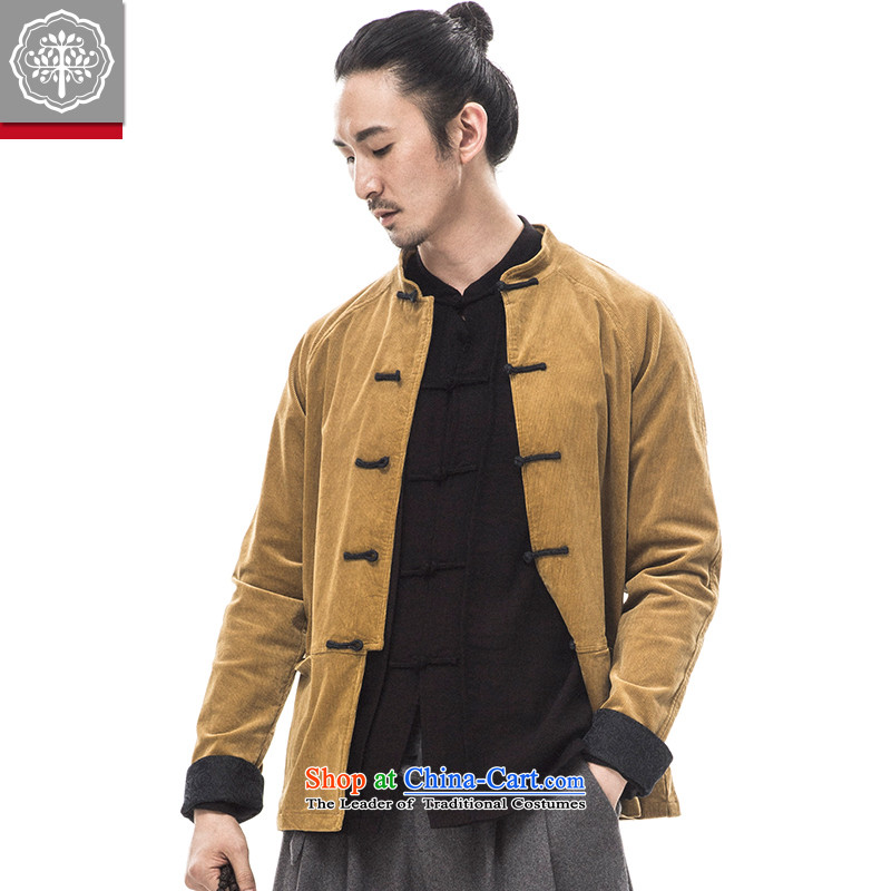 2015 Autumn and winter to New Tree Chinese men Tang dynasty long-sleeved corduroy ?tòa improved Han-male China wind men designer brands rattan?175_L yellow