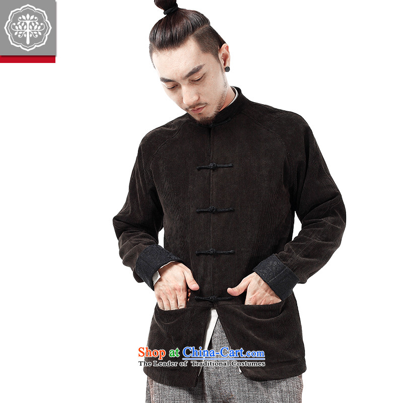 2015 Autumn and winter to New Tree Chinese men Tang dynasty long-sleeved corduroy ãþòâ improved Han-male China wind men designer brands rattan yellow175/L, EYENSREE Tree (Context) , , , shopping on the Internet