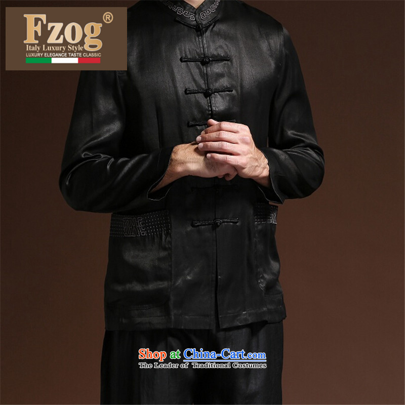 Fzog  聽new minimalist leisure middle-aged men men's solid color coating cloth Tang dynasty comfortable wild breathable Black聽XL