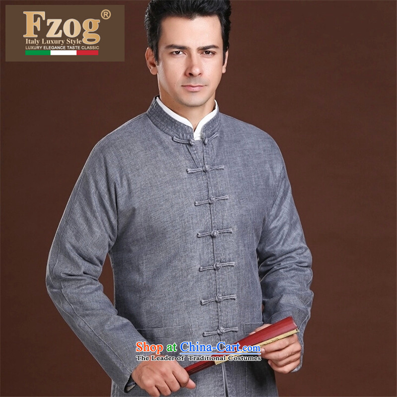 聽 聽New Spring FZOG minimalist leisure pure color rib washable men older long-sleeved Tang dynasty comfortable gray聽L