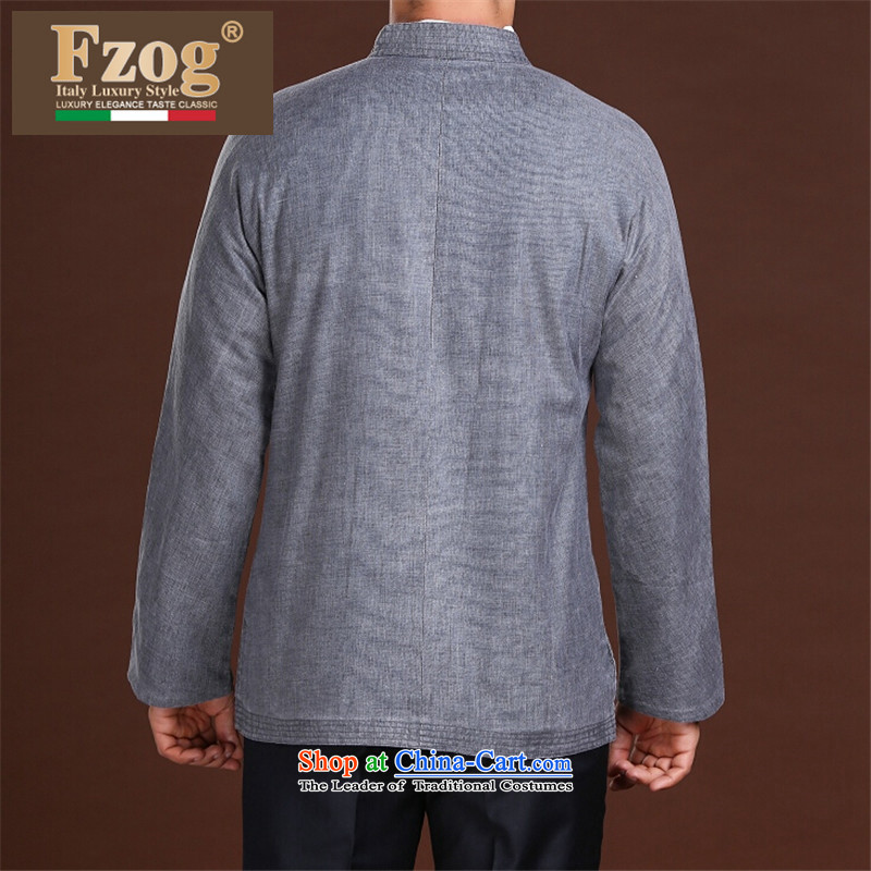 New Spring FZOG minimalist leisure pure color rib washable men older long-sleeved grayL,fzog,,, Tang dynasty comfortable shopping on the Internet