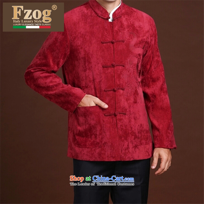 Fzog   leisure minimalist China wind men printed cloth animal patterns of middle-aged men's Long-sleeve loose Tang RED M