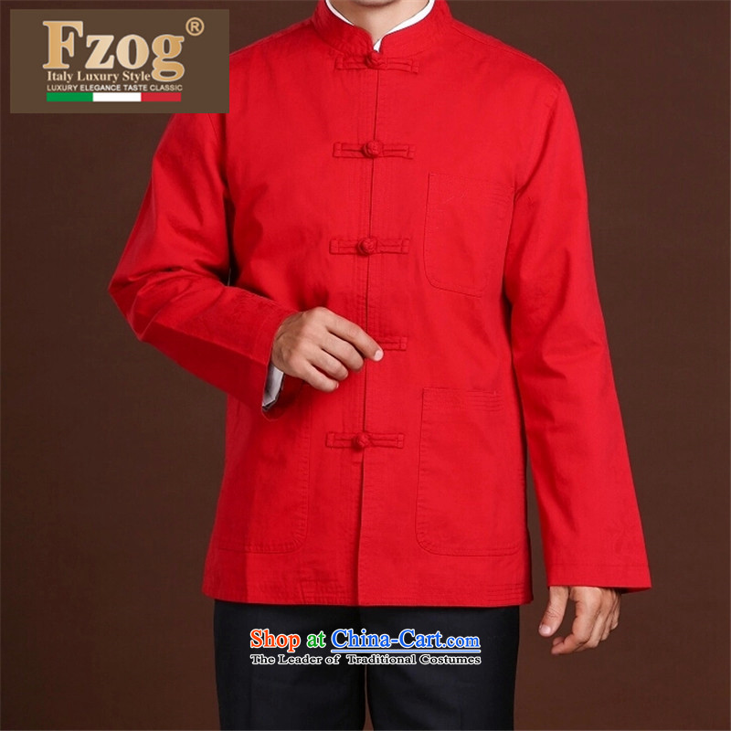 China wind winter new FZOG men casual simplicity of middle-aged men's Long-sleeve relaxd comfortable red XXXXL Tang Dynasty