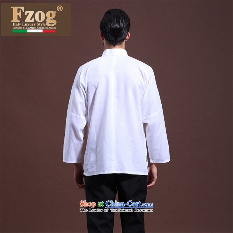 聽 聽Spring MEN CASUAL FZOG middle-aged men's solid color rib washable comfortable white long-sleeved Tang dynasty聽S