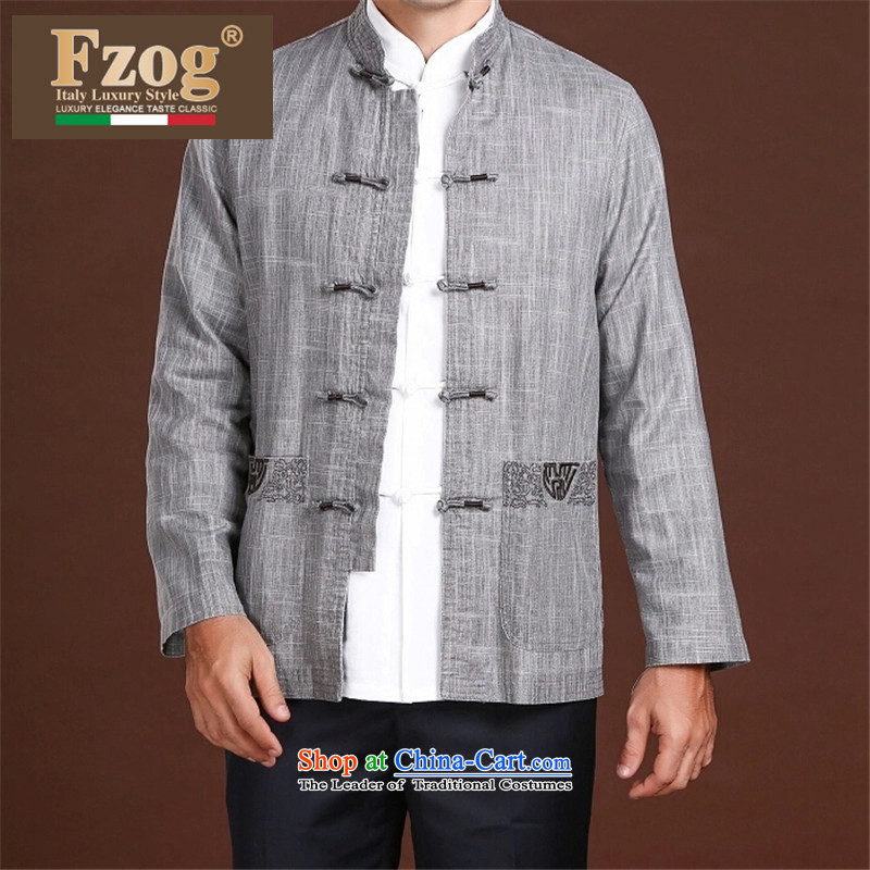 Fzog  ?men minimalist decor coin pure color leisure satin middle-aged men's Long-sleeve Tang dynasty comfortable wild Gray?L