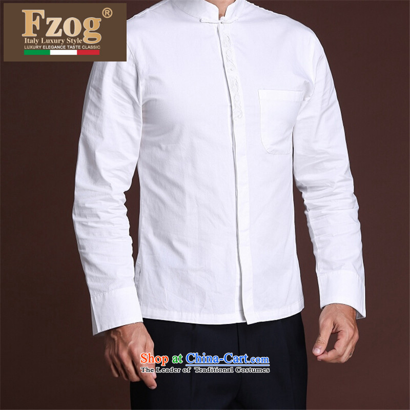 聽  聽A new summer of leisure FZOG men solid color from hot deal with rib middle-aged men's long-sleeved white聽XXXL Tang Dynasty