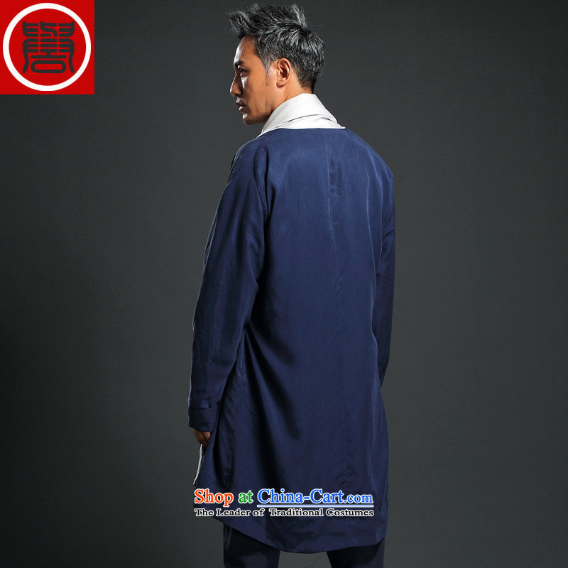 Renowned China wind Tencel Ma Tang dynasty cardigan improved Han-long-sleeved shirt Autumn Chinese Long Hoodie men blue L/170, renowned (CHIYU) , , , shopping on the Internet
