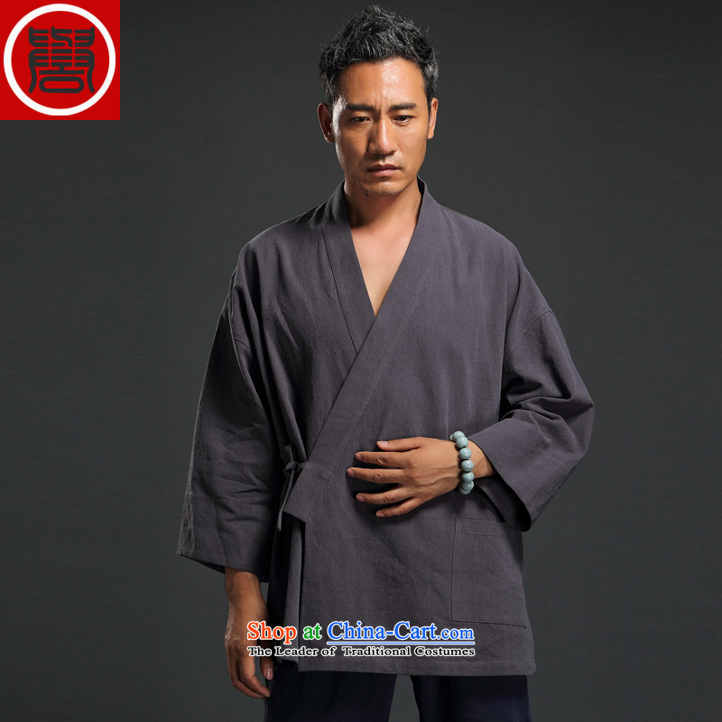 Renowned Chinese Wind linen men retro Han-to fulfill his breast cardigan leisure Tang dynasty men t-shirt tea service gray?XXL