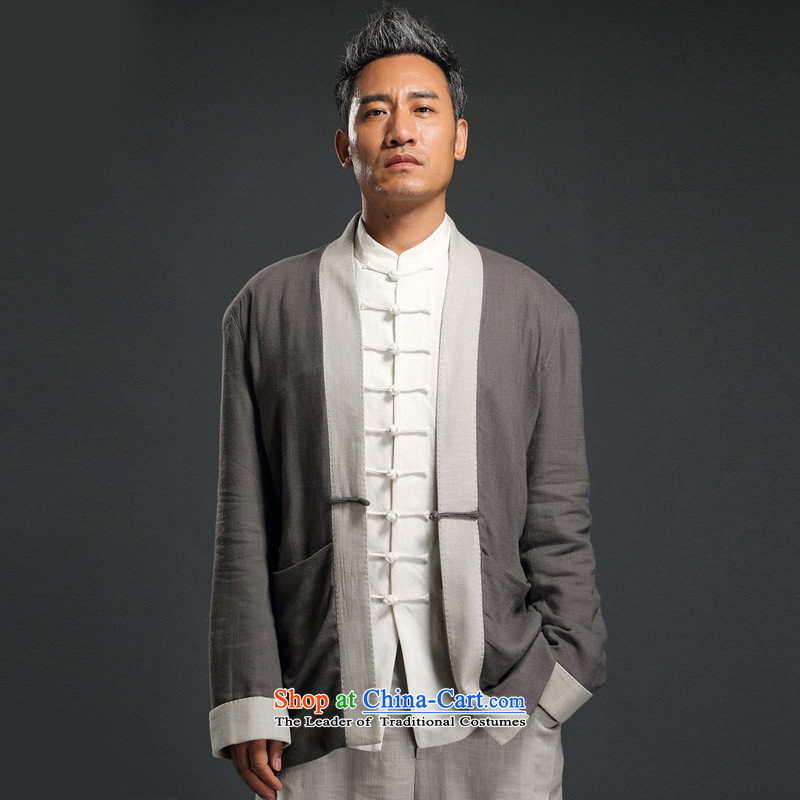 Renowned China wind linen Han-long-sleeved male cardigan improved Tang blouses Chinese Tang dynasty retro autumn men?2XL/180 Gray