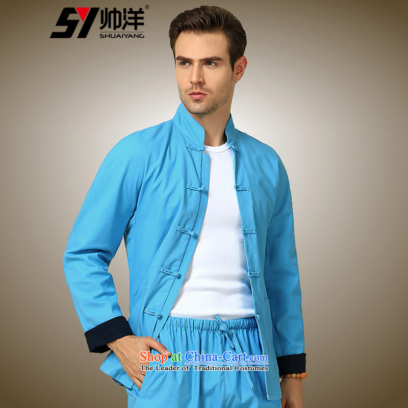 Yohei Kono autumn 2015 installed shuai new even cuff men Tang dynasty long-sleeved shirt China Wind Jacket Chinese men's jackets blue Single T-shirts are 180