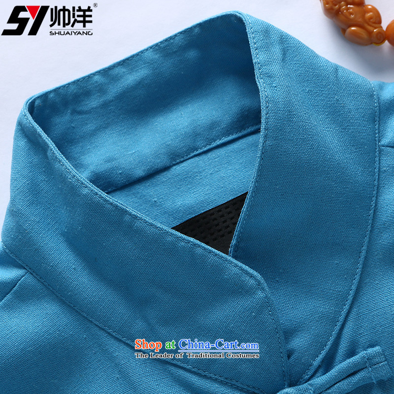 Yohei Kono autumn 2015 installed shuai new even cuff men Tang dynasty long-sleeved shirt China Wind Jacket Chinese men's jackets blue Single T-shirts are聽180, yang (Shuai SHUAIYANG) , , , shopping on the Internet