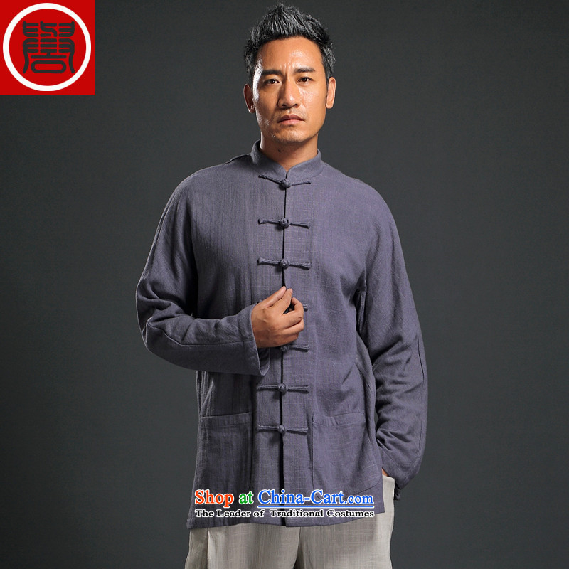 Renowned Tang dynasty autumn long-sleeved men's disk-han-China wind linen men casual relaxd cotton linen shirts and light violet L