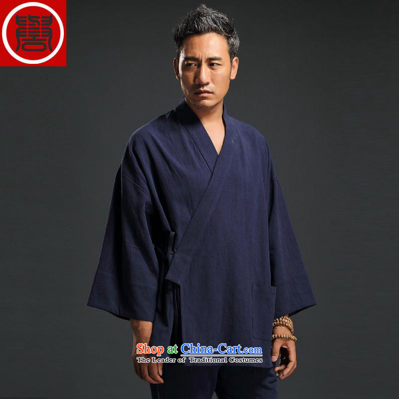 2015 Autumn renowned China wind linen retro Han-men to fulfill his breast cardigan leisure Tang dynasty men t-shirt tea service practice ball-service blue?L