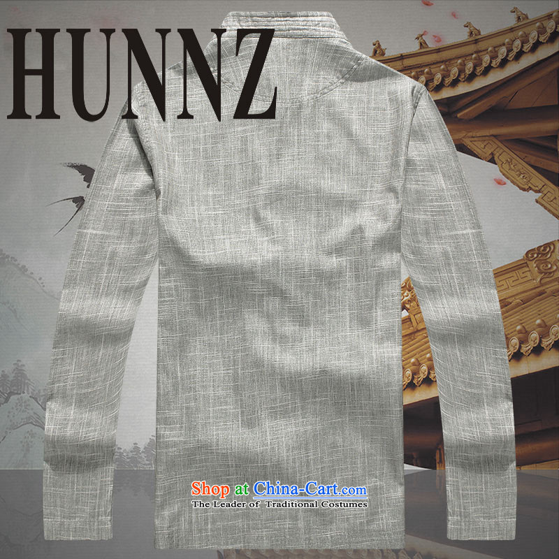New products fall HUNNZ2015 Tang dynasty and the package for long-sleeved clothes of older persons with classical China wind load father gray聽175