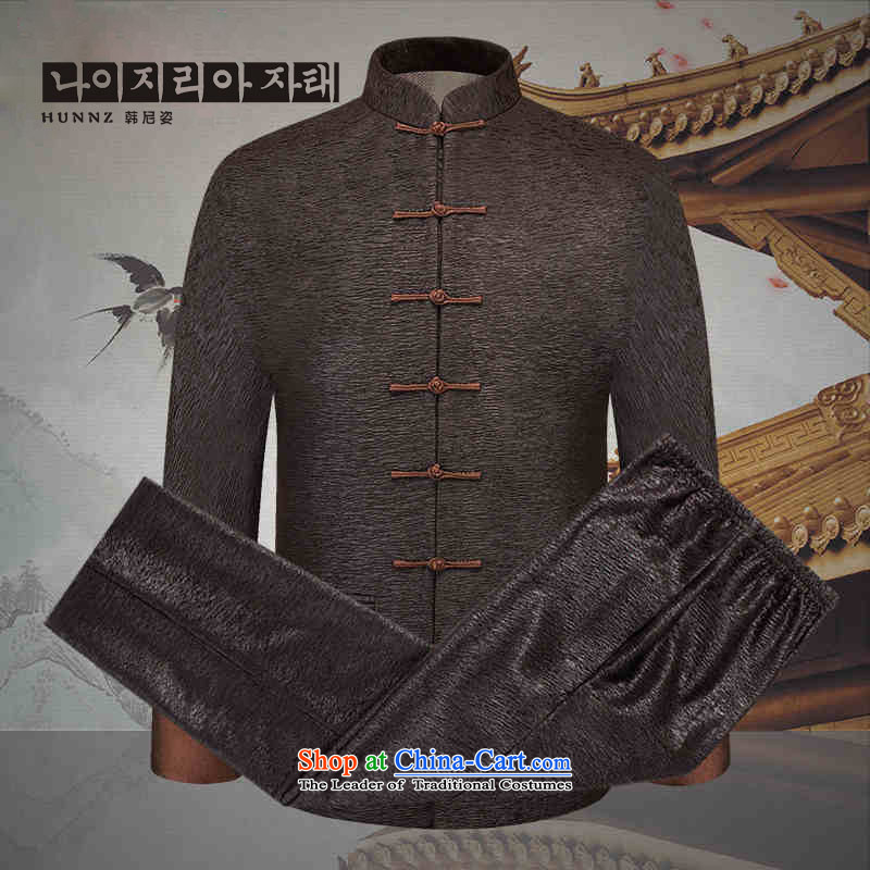 New products in the spring and autumn HANNIZI2015 Tang dynasty older men and packaged China Wind Jacket men's clothes, thread the thin brown 170