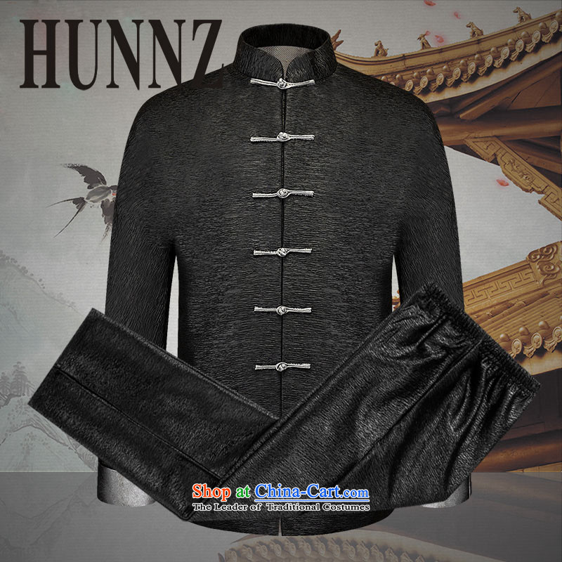 New products in the spring and autumn HUNNZ2015 Tang dynasty older men and packaged China Wind Jacket men's clothes, thread the thin black�180