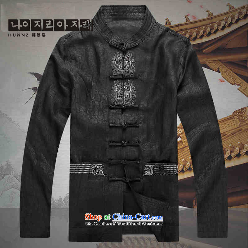 Hannizi2015 China wind silk carpets cloud of incense yarn Tang Dynasty Men long-sleeved shirt of older persons in the Chinese tunic聽XXXXL black