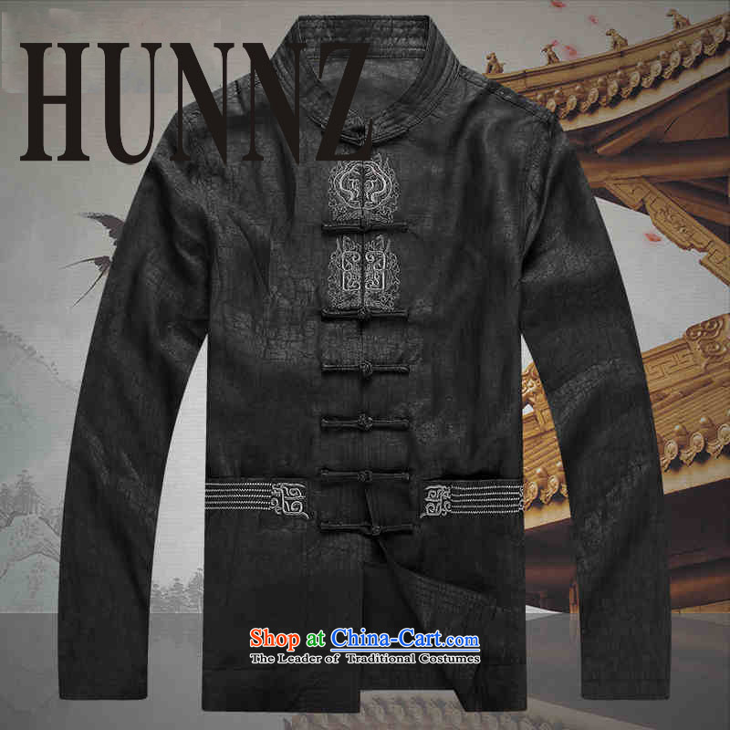 Hunnz2015 China wind silk carpets cloud of incense yarn Tang Dynasty Men long-sleeved shirt of older persons in the Chinese tunic Black聽XL