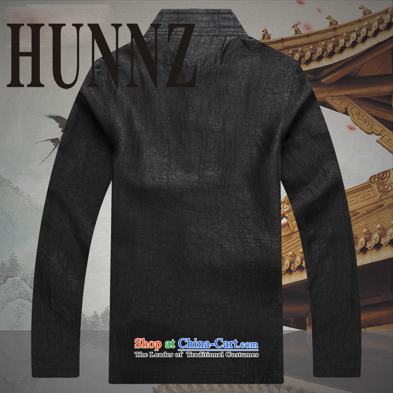 Hunnz2015 China wind silk carpets cloud of incense yarn Tang Dynasty Men long-sleeved shirt of older persons in the Chinese tunic black聽XL,HUNNZ,,, shopping on the Internet