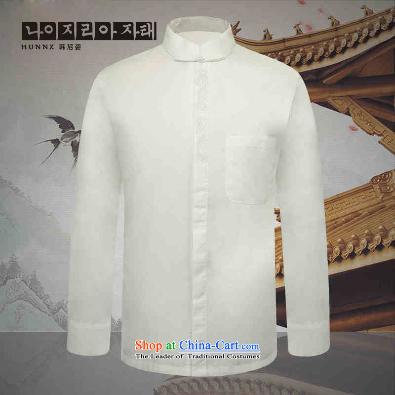 Name of the new classic Chinese HANNIZI wind collar dark detained men Tang dynasty long sleeved shirt with white thin cotton linen clothes shirt, White�0