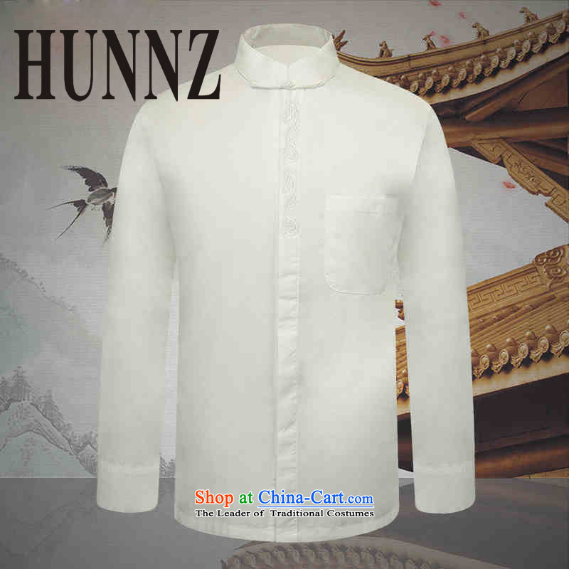 The new classic Chinese HUNNZ wind collar dark detained men Tang dynasty long sleeved shirt with white thin cotton linen clothes shirt, White 185