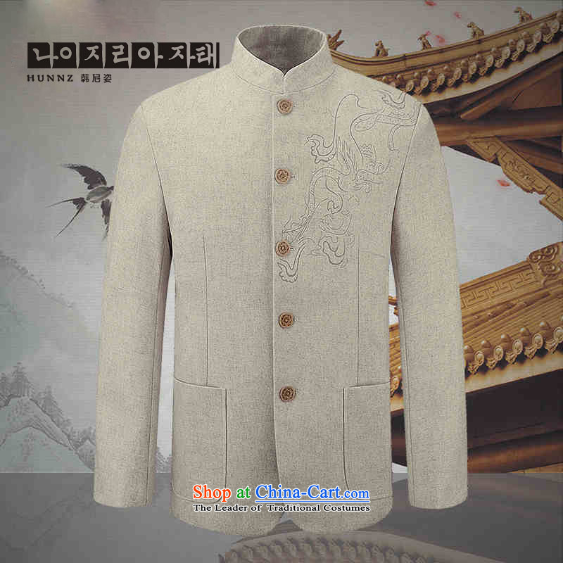 The new classic jacket, HANNIZI China wind men's woolen a casual jacket collar men use sub-free ironing White 185