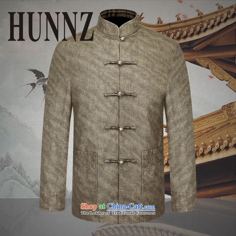 Slim, classical Tang HUNNZ2015 replacing men and long-sleeved quality leather garments of older men jacket retro-fitted men Tang khaki聽190