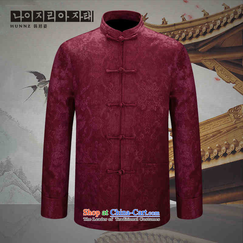 Hannizi2015 New China wind classic men of older persons in the Tang dynasty men's men's jackets Chinese tunic dark red聽190