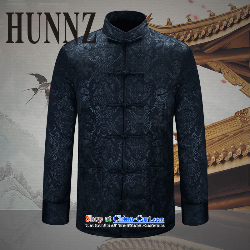 Hunnz2015 New China wind classic men of older persons in the Tang dynasty men's men's jackets Chinese tunic Dark Blue�0