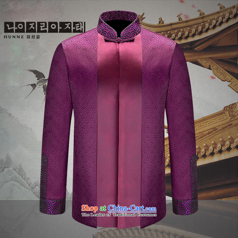 Classical China wind HANNIZI2015 men Tang Dynasty Chinese Dress Han-improvement of older Chinese tunic men purple 175