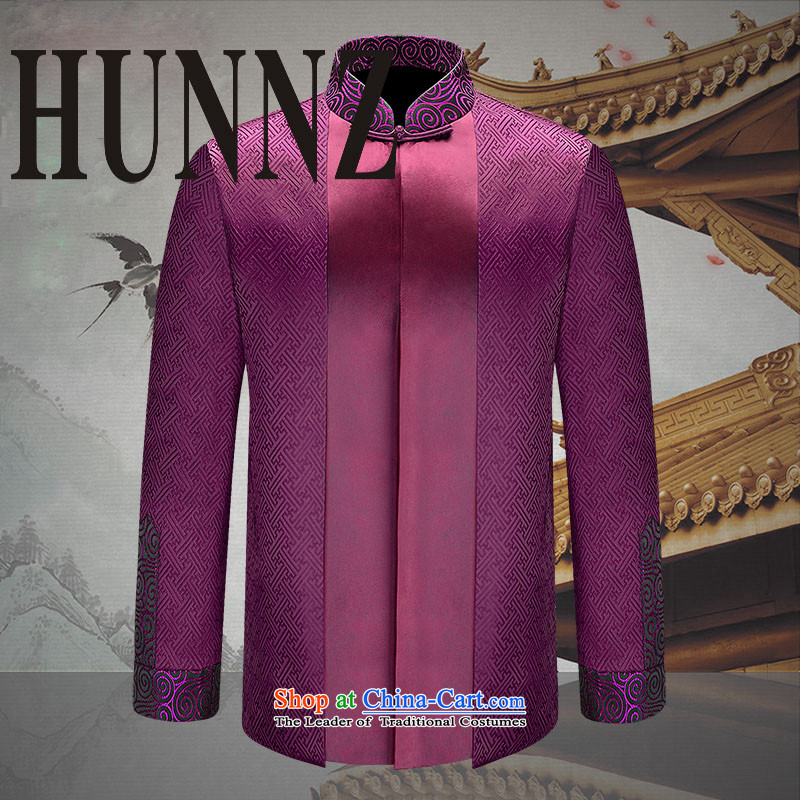 Classical China wind HUNNZ2015 men Tang Dynasty Chinese Dress Han-improvement of older Chinese tunic men purple�190