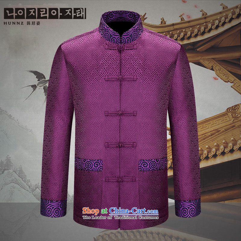 The elderly in the new HANNIZI men Tang dynasty China wind long-sleeved Men's Shirt at the APEC meeting of Chinese clothing purple 170