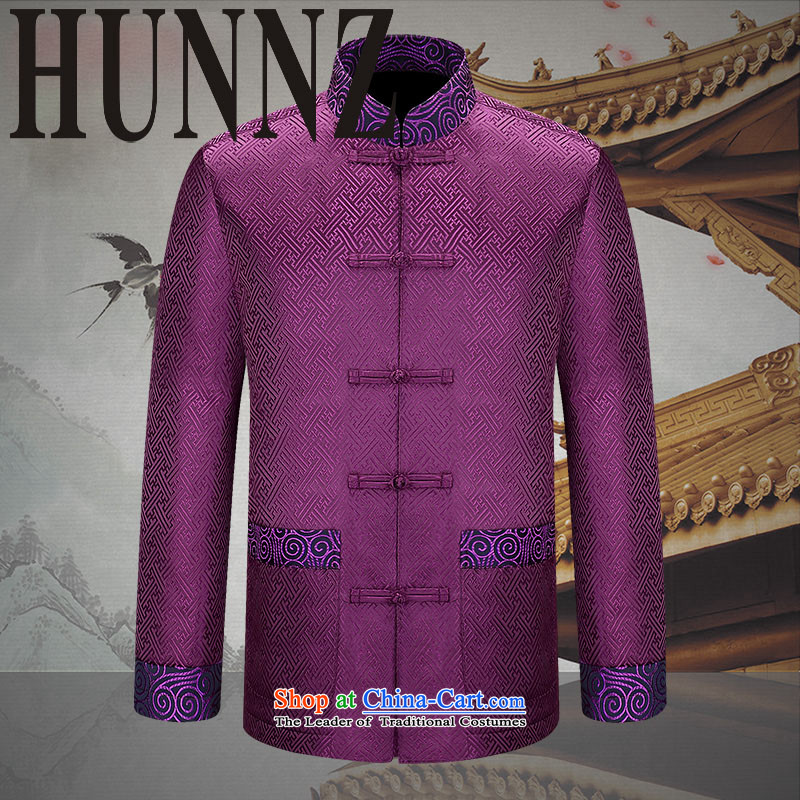 The elderly in the new HUNNZ men Tang dynasty China wind long-sleeved Men's Shirt at the APEC meeting of Chinese clothing purple�180