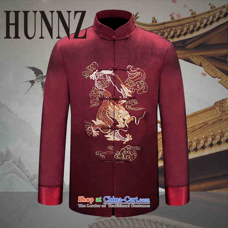 Hunnz2015 new manually men long-sleeved Tang dynasty China wind men-soo Men's Jackets Chinese Dress dark red 170