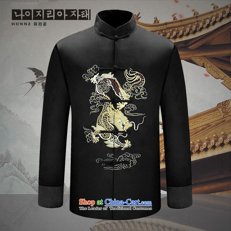 Hannizi2015 new manually men long-sleeved Tang dynasty China wind men-soo Men's Jackets Chinese Dress Black?170